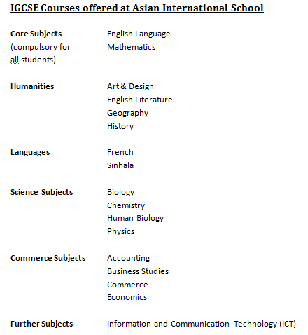 Information Systems arts subject list
